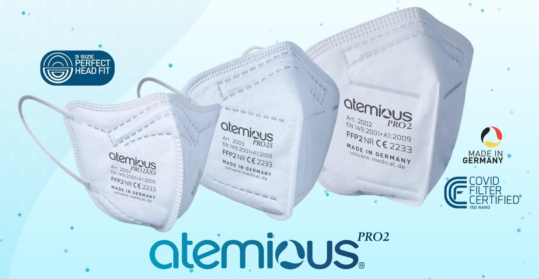 Atemious Pro2/Pro2S/Pro2XXS FFP2 Atemschutzmask, Made in Germany