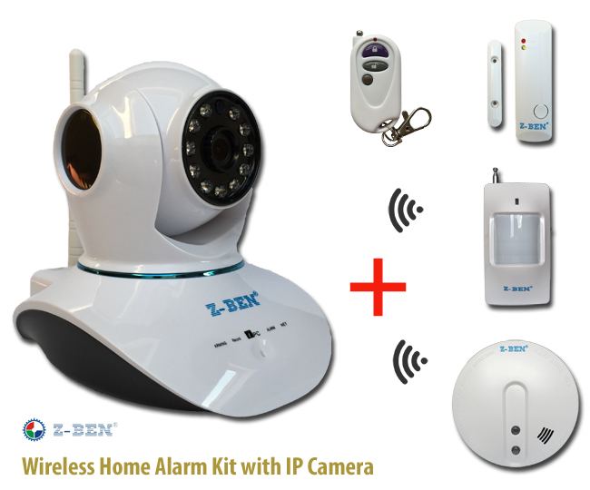 Wireless Home Alarm Kit with IP Camera