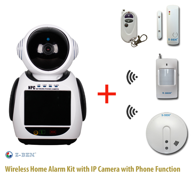 Wireless Home Alarm Kit with IP Camera with Phone Function