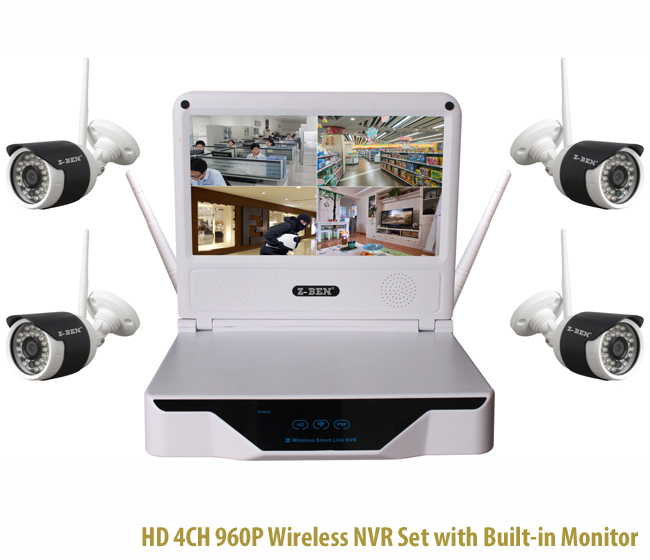 HD 4CH 960P Wireless NVR Set with Built-in LCD Monitor